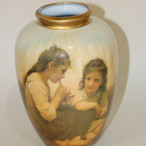 unknown Accents - Victorian Vase Ceramic 2 young girls in dresses